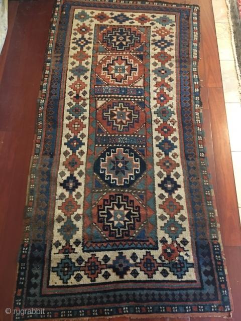 Antique Kazak Rug Circa 1880 need same work  size is 3x6 (91.cm x 182.cm)  Price $650.00