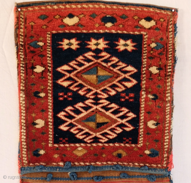 Caucasian Khorjin, pile faces with flatweave back and bridge Complete, excellent condition. Dimensions 100 x 38 cm, 3ft 1in X 1ft 3in