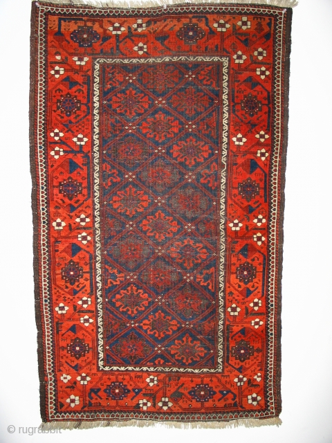 Baluch Rug with snow flake field and fantastic border. Corroded and low pile dark field, border in good condition. 78 x 130 cm  Bought years ago at Adraskand