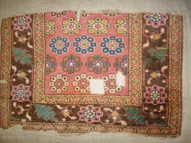 Persian Bidjar fragment XIX th.century cm.70x98 mounted on cotton fabric.