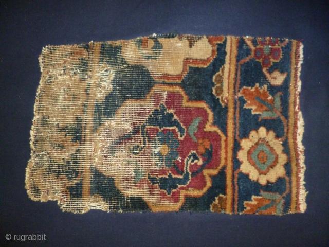 Persian border fragment monted on bleu cotton cm 25 x 40