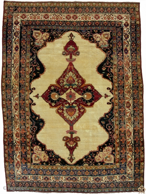 "Kerman open field rug, 4-8"" x 6-3"" Circa 1870 good but not mint condition
