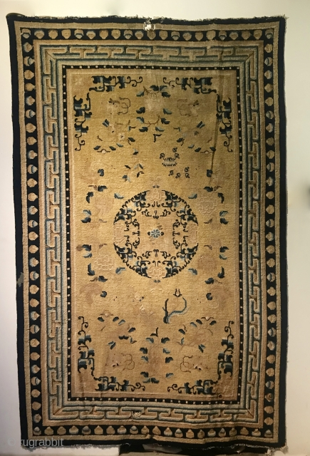 Ninghsai Carpet, 104 in x 66 in (264 cm x 168 cm),  mid 1800s, all natural dyes, full to low pile, photos do not do justice to this piece. A proper  ...