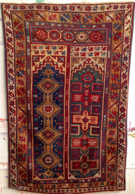 """Makri Double Niche Prayer Rug. Circa 1875, 6'8"""" x 4'4"""", all natural dyes, rich color. Beautiful dynamic design. Contact for additional images and info."""