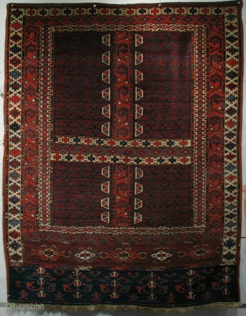 "Yomud Engsi, West Turkestan, Mid 19th century, 5'4"" x 4'1"". Exhibited in ""Rugs from Private Collections in the Thirteen Original States"", Marketplace Design Center, Philadelphia, Eight International Conference on Oriental Carpets, 1996,  ..."