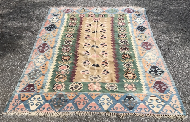 Turkish flat woven rug. Good condition. No repairs. Retains export tag. Contact for additional images and information.