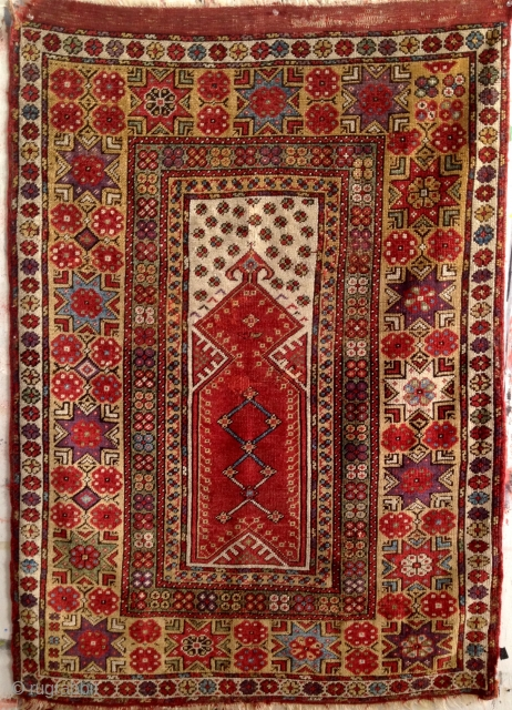"""A Fine Melas Prayer Rug. Southwest Anatolia, mid-1800's, 4'10"""" x 3'6"""", all natural dyes, old repairs, rich colors. Additional images available upon request."""