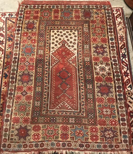 "Melas Prayer Rug. Southwest Anatolia, mid-1800's, 4'10"" x 3'6"", all natural dyes, old repairs, rich saturated colors."
