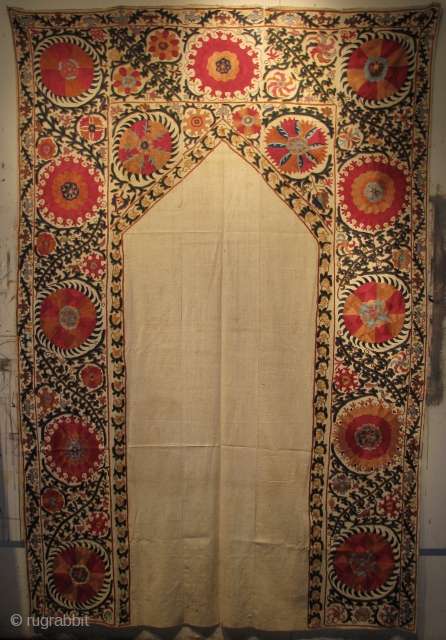 "Suzani Embroidered Mihrab Panel. Uzbekistan, Late 19th century. 8'2"" (98 in) x 5'4"" (64 in). All natural dyes, no repairs and in excellent condition. Additional images available upon request. Please goto profile  ..."
