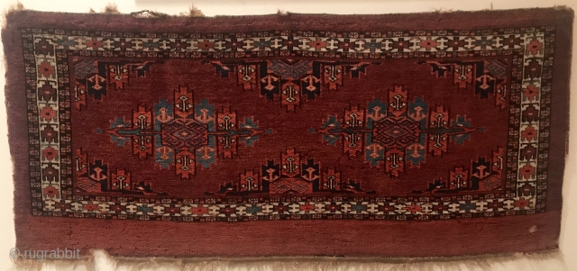Mid 1800's Yomud Torba, West Turkestan, 21 in x 46 in (54 cm x 117 cm). a fine old bag face. All natural rich color. Full pile, no wear, soft silk like  ...
