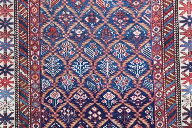 Shirvan from Late 19th C. It has a nice abrashed sky blue field.