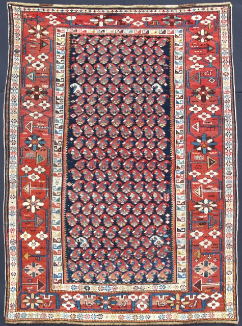 Shirvan Boteh with a splendid large border. Very fine knoted from Late 19th or Early 20Th C. It has very dry handle