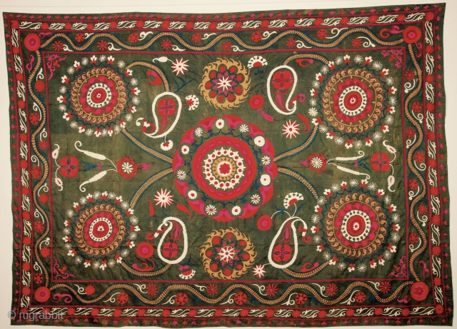 Uzbek suzani .silk on silk embroidery.19th.century.size 330x 210 cm.good condition.