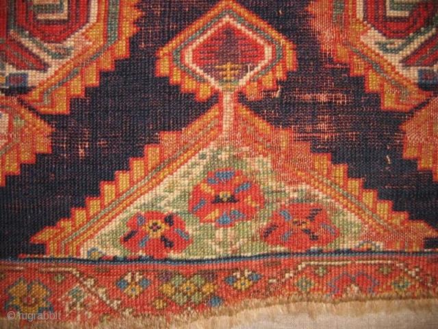 PERSIAN KURDISH RUG Circa.1850 mounted very well on linen,size is 160x115