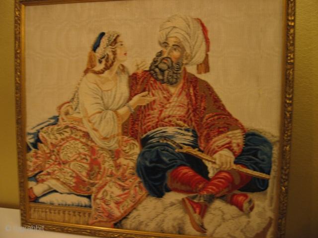 European textilework ;oriental theme. Silk on silk 50 x 50 cm  19th. c.