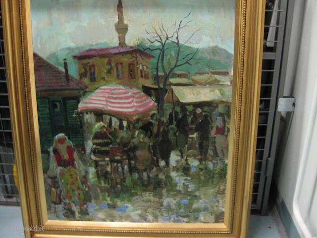 Turkish theme. Swedish painter large: c 80 cm x 50 cm. ' Good cond.