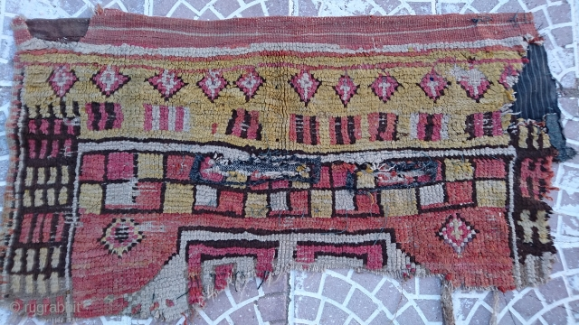 18thc Anatolia konya rug frakment size=110x55