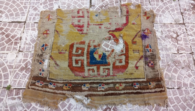18thc Yellow ground Cappadocia rug fragment