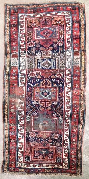 Old Kurdish tribal rug, around 1900.