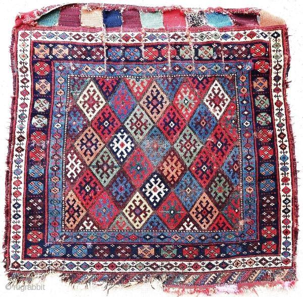 Old Kurdish rug, Jaff, around 1900. In good general condition with wear and gaps.  Origin : Kurdistan Period : around 1900 Size : 92 x 90 cm Material : wool on wool Good general condition with wear  ...
