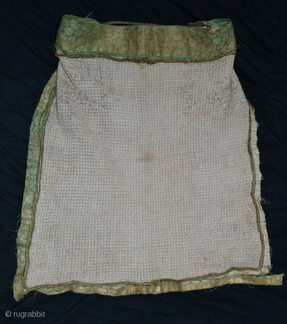 Khotan East Turkistan Tarim cotton lace veil trimmed with gilt / silk brocade.