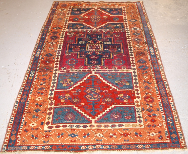 Antique Eastern Anatolian Kurdish Yuruk long rug with three boxed medallion design. www.knightsantiques.co.uk 