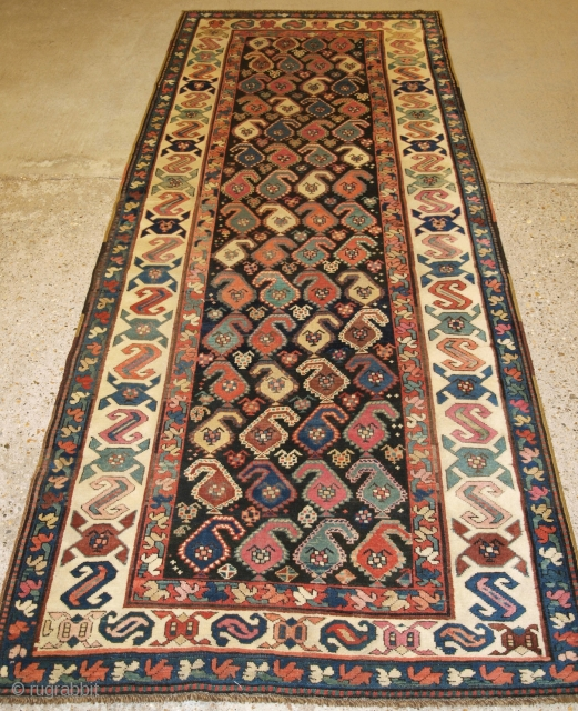 Antique Caucasian Karabagh region runner with all over colourful large boteh design. www.knightsantiques.co.uk  Size: 9ft 6in x 3ft 8in (290 x 111cm).   late 19th century.  A good example of a Karabagh runner, the  ...