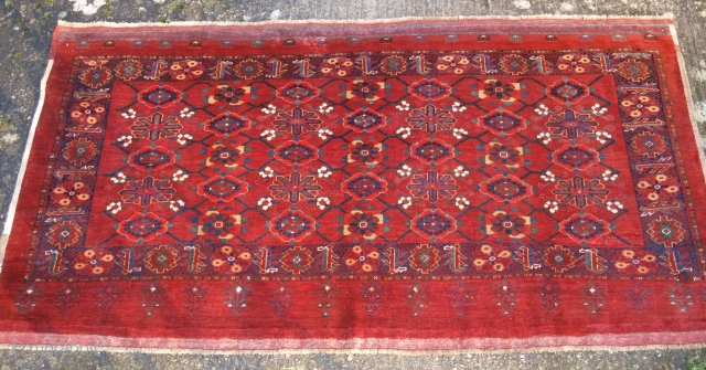 Excellent Beshir Chuval face, Size: 6ft 8in x 3ft 6in (202 x 106cm).  Antique Beshir Turkmen chuval with the 'mina khani' (many flowers) design.   Late 19th century.  This Beshir chuval is of very large  ...