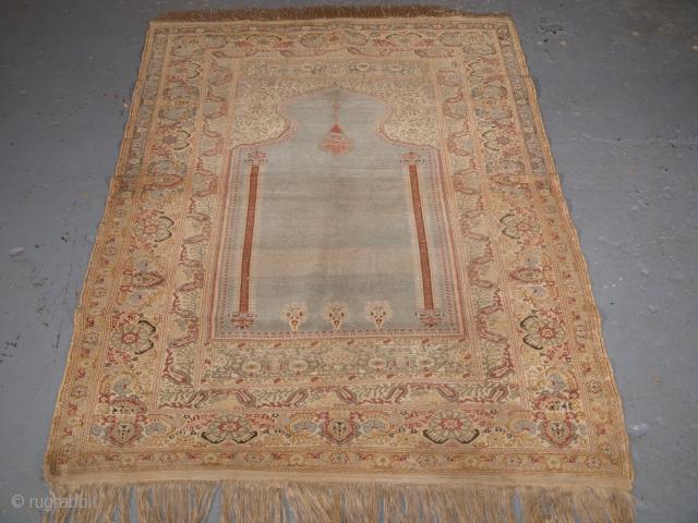 Antique Ghiordes prayer rug, blue ground, 19th century.