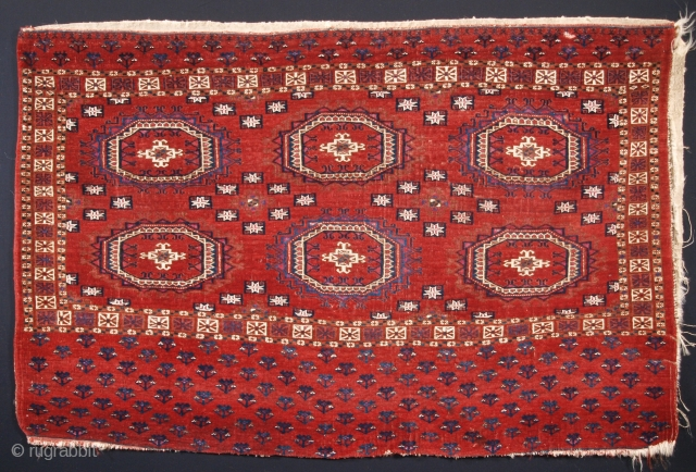 Excellent Tekke chuval with cotton and silk highlights, ivory plain weave back.