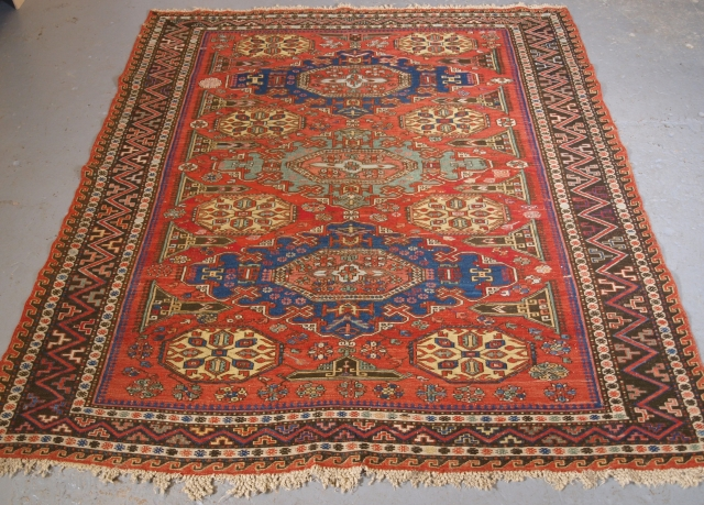 Size: 5ft 11in x 5ft 2in (180 x 158cm). www.knightsantiques.co.uk   Antique Caucasian soumak carpet of three medallion design of scarce small size format with superb colour.  Circa 1880.  This soumak is of the classic  ...