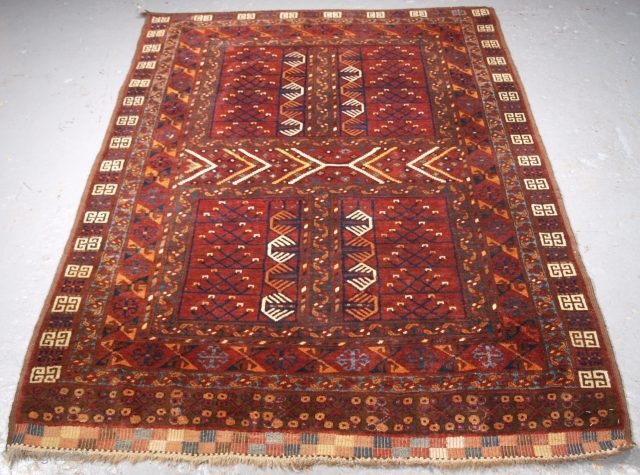 Size: 6ft 3in x 4ft 7in (190 x 139cm). www.knightsantiques.co.uk   Antique Ersari Turkmen ensi of traditional design with excellent colour and outstanding condition.   Circa 1890.  Ensi were door hangings used to cover the  ...
