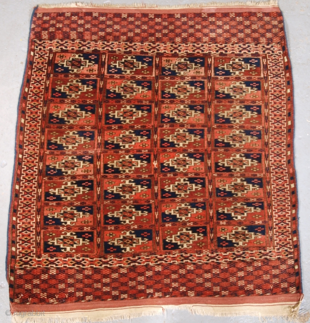 Size: 3ft 1in x 2ft 9in (95 x 85cm). www.knightsantiques.co.uk   Antique Tekke Turkmen rug of small square size, these rugs are generally considered to be 'dowry' weavings.   Circa 1890.  This is an excellent  ...