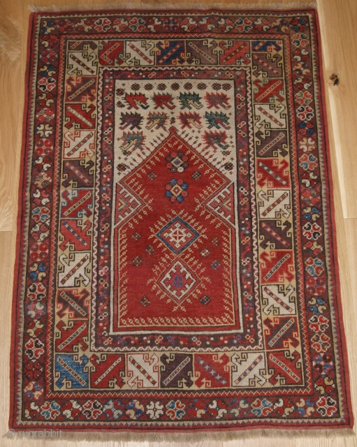 Antique Turkish Milas prayer rug of classic design with superb soft wool and small size. www.knightsantiques.co.uk Size: 4ft 3in x 3ft 0in (129 x 91cm).   2nd half 19th century.  The rug has very  ...