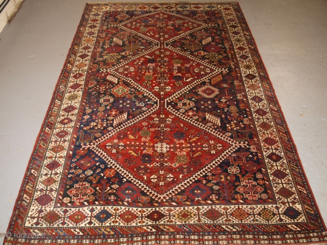 Antique south west Persian Qashqai tribal carpet of outstanding design. www.knightsantiques.co.uk Size: 10ft 2in x 6ft 4in (310 x 194cm). 
