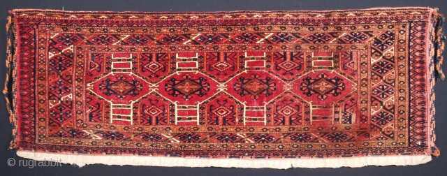 Size: 4ft 1in x 1ft 6in (124 x 46cm) face size. www.knightsantiques.co.uk   Antique Tekke Turkmen torba with well drawn Kejebe design.  Circa 1900.  A good Tekke torba with excellent colour and good wool. The  ...