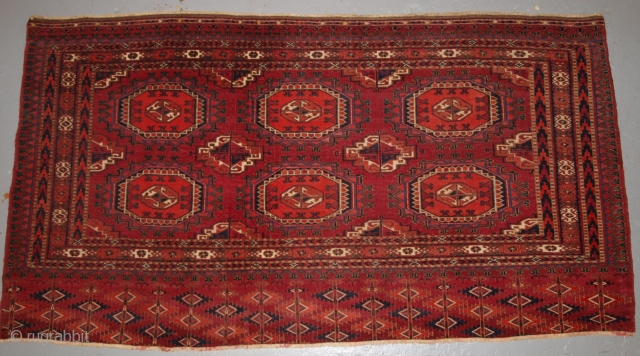 Antique Tekke Turkmen chuval with 'Salor' guls. www.knightsantiques.co.uk Size: 4ft 9in x 2ft 6in (144 x 76cm). 