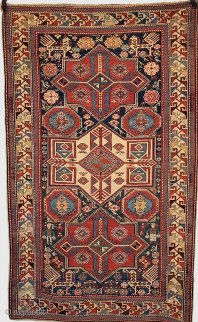 Size: 7ft 5in x 4ft 6in (226 x 136cm). www.knightsantiques.co.uk   Antique Caucasian Shirvan Akstafa star medallion rug from the Eastern Caucasus.  Circa 1880.  This is an outstanding example of type, with three star medallions  ...