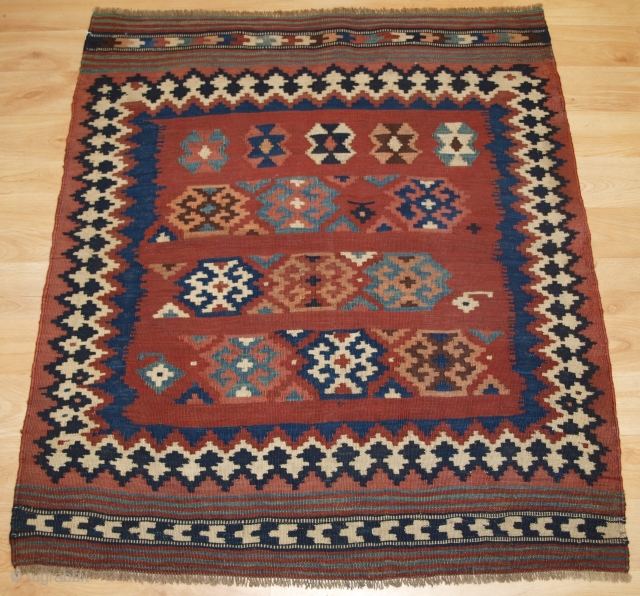 Size: 3ft 3in x 2ft 11in (100 x 90cm). www.knightsantiques.co.uk   Antique Persian tribal Qashqai kilim sofreh, South West Persia.  Circa 1900.  A scarce Qashqai sofreh, eating cloth; these were placed on the ground and  ...