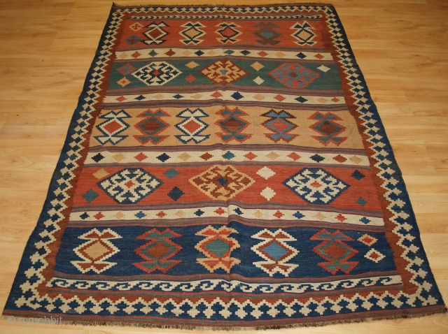 Size: 7ft 0in x 4ft 8in (213 x 143cm). www.knightsantiques.co.uk   Antique Persian tribal Qashqai kilim, South West Persia.  Circa 1900.  A good Qashqai kilim with a bold banded design, natural dye colours throughout.  Excellent condition,  ...