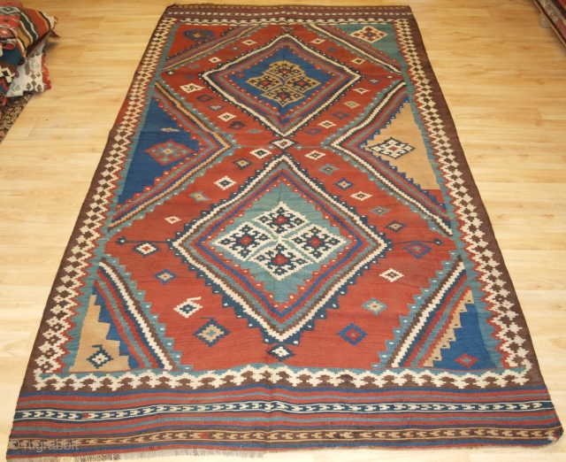 Size: 9ft 8in x 5ft 0in (295 x 152cm). www.knightsantiques.co.uk   Antique Persian tribal Qashqai kilim, South West Persia.  Circa 1900.  A really outstanding Qashqai kilim with very bold graphic design and wonderful natural dye  ...