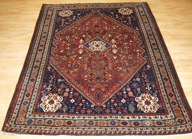 Size: 6ft 7in x 4ft 11in (200 x 151cm). www.knightsantiques.co.uk   Antique Abedeh rug with the tribal medallion design, a rug with outstanding colour.  Circa 1920.  The rug is of a traditional tribal design with  ...