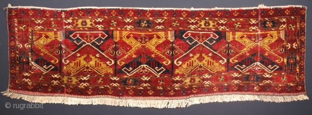 Size: 5ft 8in x 1ft 8in (173 x 50cm). www.knightsantiques.co.uk   Antique Ersari Beshir Turkmen torba of unusual design.  Circa 1900.  A interesting example of Beshir weaving, the torba has a scarce design and excellent  ...