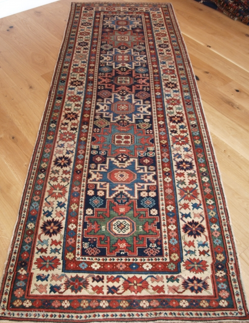Antique Caucasian Shirvan runner from the South Eastern Caucasus. with Lesghi star design. www.knightsantiques.co.uk Size: 9ft 11in x 3ft 6in (302 x 108cm). 