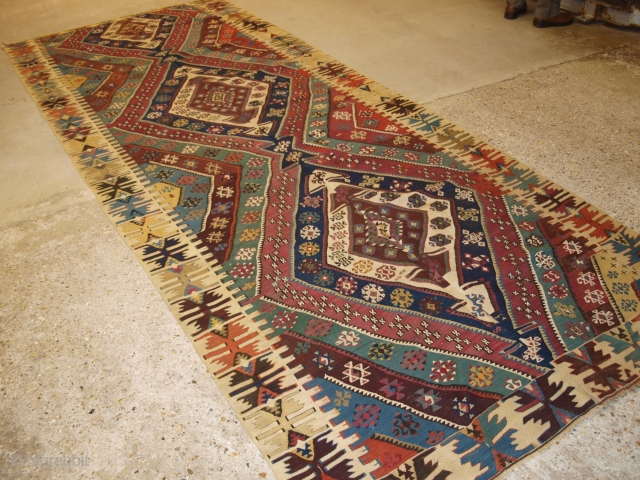 Antique Turkish Malatya kilim with excellent traditional design and colour. www.knightsantiques.co.uk 