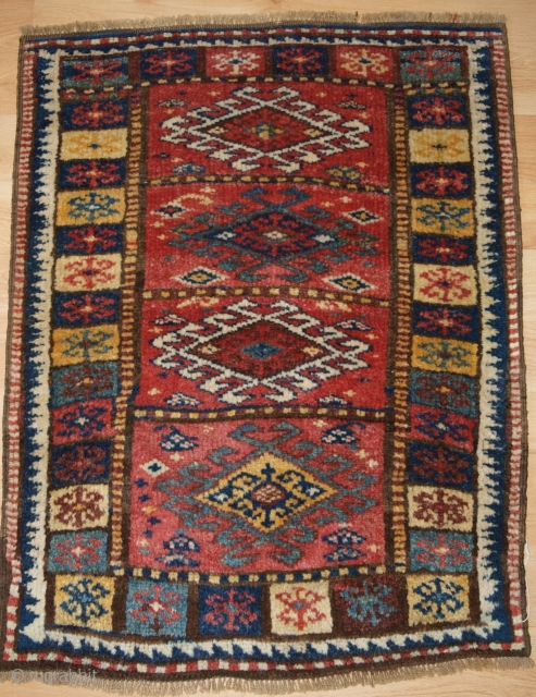 Antique North West Persian Kurdish yastik with excellent colour and traditional design. www.knightsantiques.co.uk Size: 2ft 11in x 2ft 3in (90 x 69cm).   Circa 1900.  Yastik are small piled rugs that were used as  ...