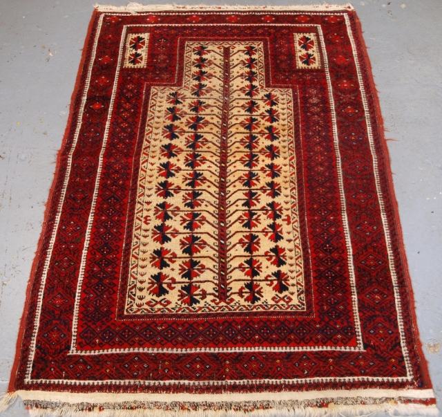 ***Spring sale*** £495.00 click the link www.knightsantiques.co.uk to view more items.  Size: 5ft 0in x 3ft 3in (152x 100cm).  Antique Baluch camel ground prayer rug with tree of life.  Circa 1900.  The rug is beautifully drawn  ...