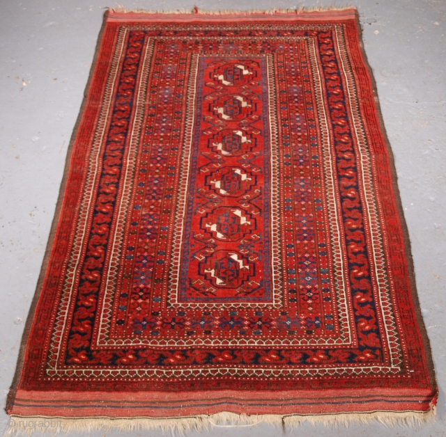 ***Spring sale*** £300.00 click the link www.knightsantiques.co.uk to view more items.  Size: 5ft 7in x 3ft 3in (170 x 100cm).  Antique Afghan Turkmen rug with very interesting design.   Circa 1900.  The rug has a single  ...
