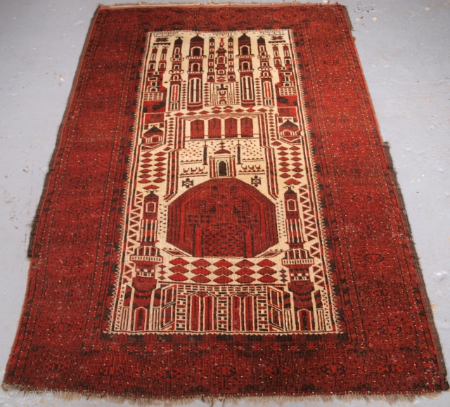 ***Spring sale*** £295.00 click the link www.knightsantiques.co.uk to view more items.  Size: 5ft 9in x 3ft 9in (176 x 115cm).  Antique Afghan prayer rug of traditional village mosque design by the Kizil Ayak Turkmen.  Dated  ...