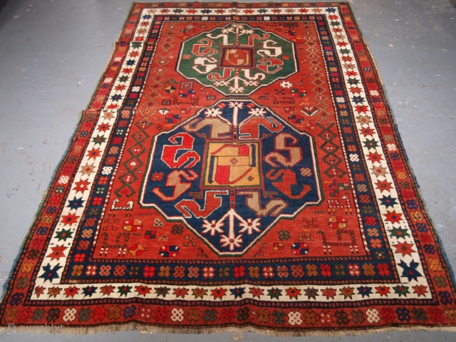Size: 7ft 7in x 5ft 1in (232 x 156cm). Click here www.knightsantiques.co.uk to view more items.  Antique Caucasian Karabagh cloud band Kazak rug.  Circa 1900.  These rugs were woven by Armenian weavers in the Duchy  ...